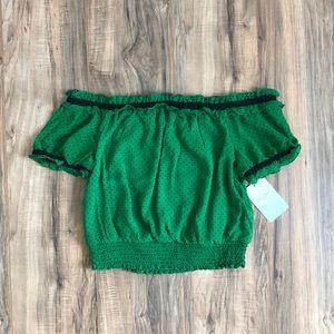 Lily White Tops - Lily White Green & Black Polka Dot Ruffle Top